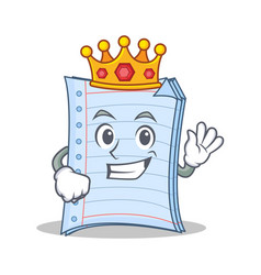King notebook character cartoon design vector