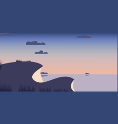landscape hills blue sea background vector image vector image
