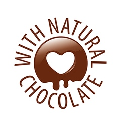 logo chocolate in a heart shape for labels vector image vector image