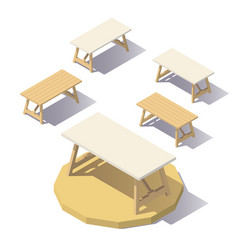 Low poly isometric office table vector