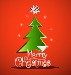 Merry Christmas Card with Green Tree and Paper vector image vector image