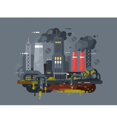 Mills and factories polluting environment vector image