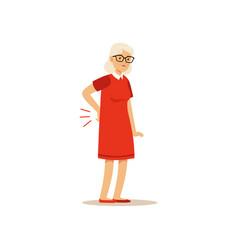 Old female character has a bad back pain colourful vector