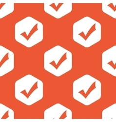 Orange hexagon tick mark pattern vector image