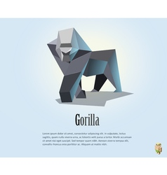 Polygonal of gorilla wild animal icon vector
