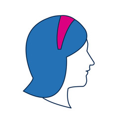 Profile woman avatar with blue hair image vector