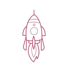 Rocket ship simple contour drawing vector