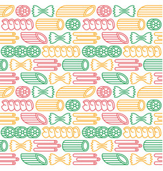 seamless pattern with varieties of pasta vector image vector image