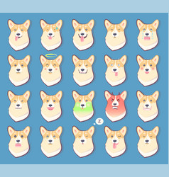 set of dogs emotions cute puppy symbol year 2018 vector image