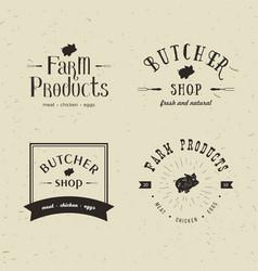 set of retro styled butchery logo templates vector image vector image