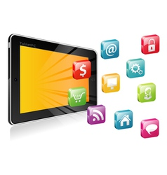 Tablet PC with a blank place for icon vector image