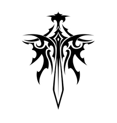 Winged sharp sword tattoo vector image