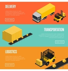 Delivery logistics and transportation banners set vector