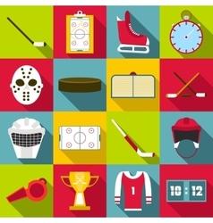Hockey items icons set flat style vector image
