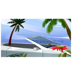 Car driving on road vector