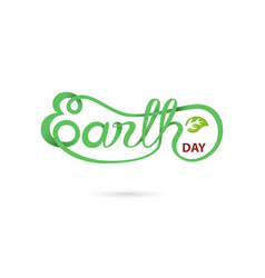 Green earth day typographical design vector