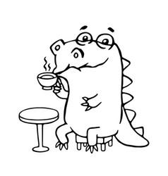 Cute dinosaur in cafe cute vector