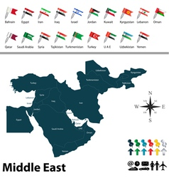 Political map of Middle East with flags vector image