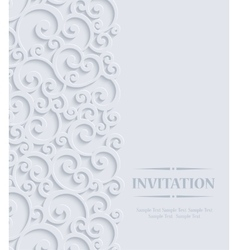 3d Vintage Invitation Card with Floral vector image