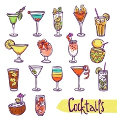 Cocktail sketch set vector