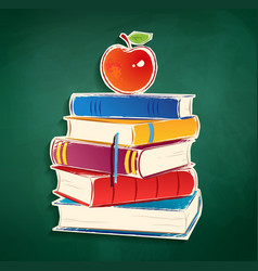 Sticker with pile of books and apple vector