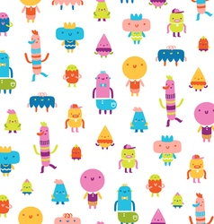 Abstract characters seamless pattern on white vector
