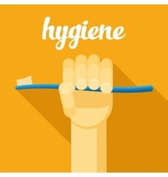 Hygiene toothbrush hand with tothbrush flat vector