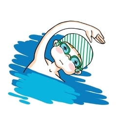 Swim the crawl boy color drawing vector