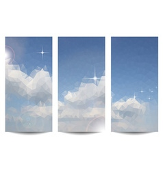 Triangular clouds in the sky background set vector