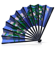 Blue fan with pink flowers vector