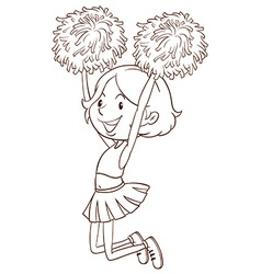 A simple sketch of a girl cheerdancing vector