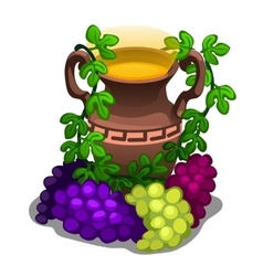 Ancient greek amphora with grape wine vector