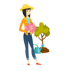 Asian farmer holding a piggy bank vector