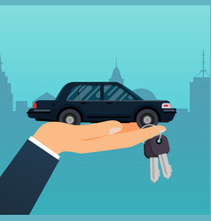 car seller hand holding key to buyer selling vector image vector image