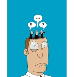 Cartoon man with with different thoughts in his vector