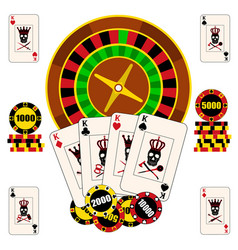Casino composition with roulette wheel playing vector