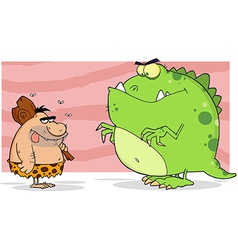 Caveman And Angry Dinosaur vector image