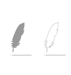 feather grey set icon vector image vector image