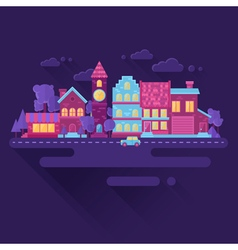 Flat houses trendy set of buildings icons vector