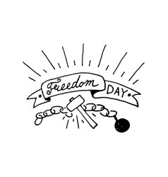 freedom day text design vector image vector image