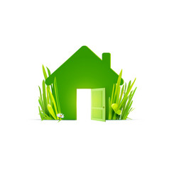 Green house with real grass vector