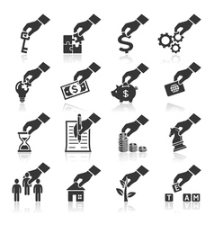 Hand concept icons vector image vector image