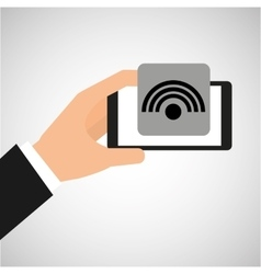 Hand holding smartphone internet wifi vector