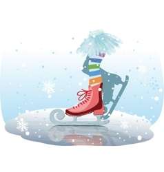 ice skates girl vector image vector image