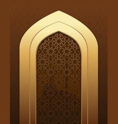 Islamic doorway view arabian night vector