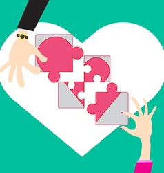 Jigsaw puzzle concept build creat love in vector