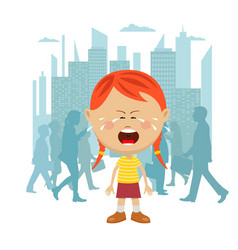 Little girl lost in city crying vector