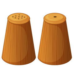 Salt and pepper shakers made of wood vector