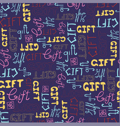 seamless pattern doodle gift words on blue vector image vector image