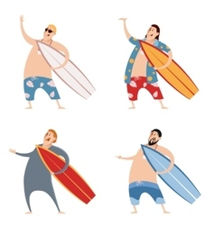 Set of surfers vector image vector image